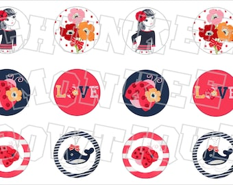 Made to Match Gymboree M2MG Blooming Nautical bottlecap image sheet