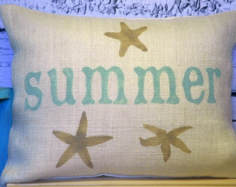Starfish pillow in off white burlap handpainted in tan and seafoam green with summer and starfish