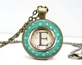 Typewriter Key Necklace - Green Dot - Glass Art Pendant Picture Pendant Photo Pendant Handcrafted Personalized Jewelry by Lizabettas