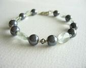 Quartz gemstone crystal pearl bracelet