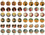 10 Vintage Halloween Bottle Cap Images Digital Collage Sheets Instant Download