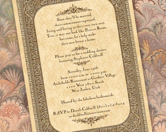 antique wedding invitation, intricate parchment wedding invitation, parchment bridal shower invitation, parchment recital program, IN188
