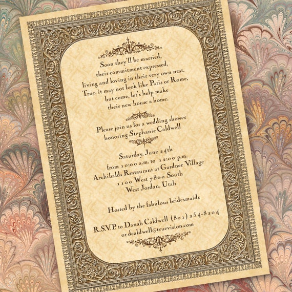 wedding invitations, Vintage wedding invitations, parchment wedding invitations, parchment bridal shower invitations, recital programs IN188