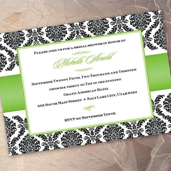 bridal shower invitations, wedding invitations, green apple and black bridal shower, apple green bridal shower, lime green wedding, IN204