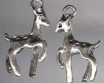 BAMBI DEER Charm. Silver Plated Zinc Alloy. 3D Faun. Baby. Whitetail. Mule Deer.