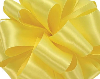 "CLEARANCE! Satin Ribbon, 1 1/2"" wide, Double Face Yellow  - FIVE YARDS - Offray, Lemon, Double Sided Satin, Wedding Sash Ribbon, Sewing Trim"