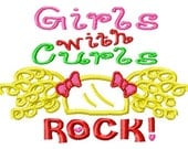 Girls with Curls ROCK - Hair Applique - Machine Embroidery Design - 5 Sizes