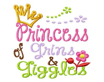 Princess of Grins and Giggles - Crown Applique - Machine Embroidery Design - 8 Sizes