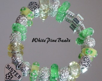 SISTER European Charm Bracelet Handmade Murano Glass Lampwork BeadS By White Pine Beads
