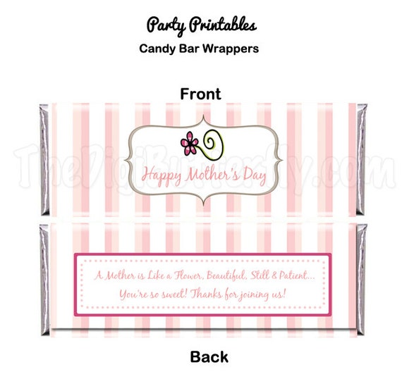 Moms Day Party - Candy Bar Wrapper - DIY Party Printables - Instant Download & Print