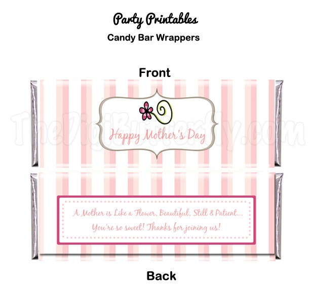 Moms day party candy bar wrapper diy party printables for Diy candy bar wrapper