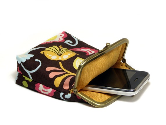 Smartphone Case / Fabric Cigarette Case - Brown and Colorful Paisley - Antique Bronze Frame