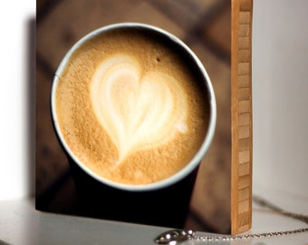 Bamboo Block, wall art, coffee, warm drink, living room, bathroom, original, photography,heart, love, print, cafe, enjoy