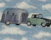 Come On, Let's Fly Away - original 6x8 - airstream camper camping summer RV surreal