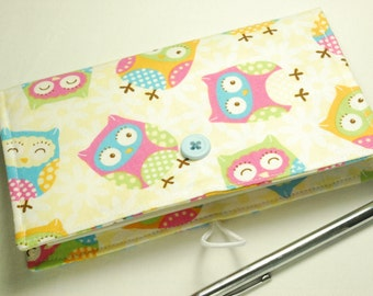 Owls Checkbook Cover -  with Elastic Closure, with Pen Holder, OPTIONAL Vinyl Duplicate Check Divider, Owl Pattern