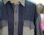 Vintage Denim Blouse Chambray Shirt Patchwork Denim Oversized Unisex