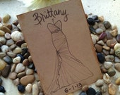 Bridal Shower Card for the Bride with HER Dress Hand Drawn on the Front Personalized with Name and Wedding Date