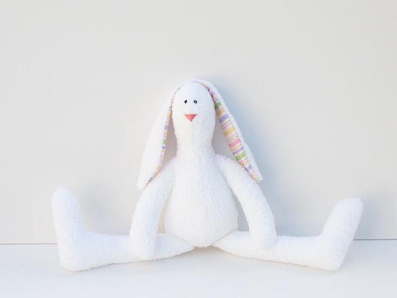 Cute soft terry cloth stuffed bunny doll- rabbit hare - white softie plush bunny rabbit toy- gift idea for baby shower,gift for girl and boy