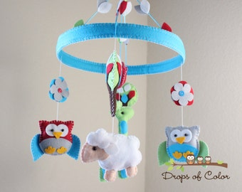 Baby Crib Mobile - Baby Mobile - Baby Animals Mobile - Mobile in a Felt Circle Frame (You can pick your colors)