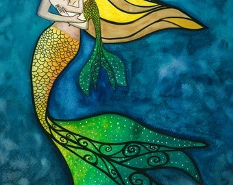 Mermaid and child watercolor print by Damon Crook (sized for 11 x 14 frame)