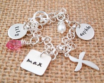 Personalized Charm Bracelet  - Mother's Charm Bracelet - Personalized bracelet - Silver Charm Bracelet - Mother's Day gift