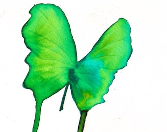 bright spring green butterfly. original watercolor painting