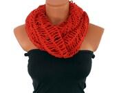 Infinity Loop Scarf Crochet in Tangerina-Chunky cowl-Bolero-Spring-Summer-Fashion