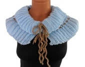 Knitted  sky blue scarf,neckwarmer