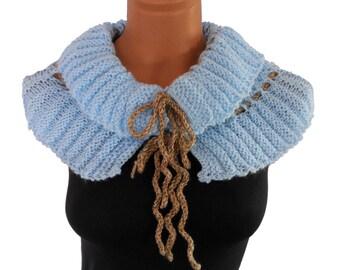 Knitted  sky blue scarf,neckwarmer