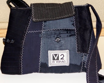 V2 up cycled suit purse (blue/black)