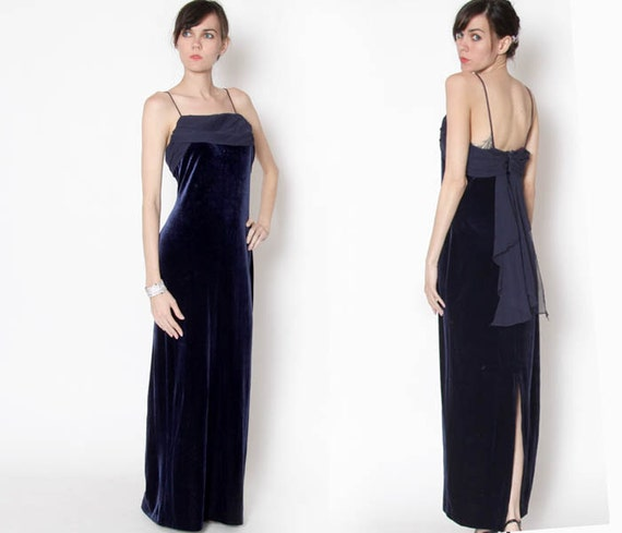 Vintage 90s Navy Blue Velvet Formal Dress Evening Gown