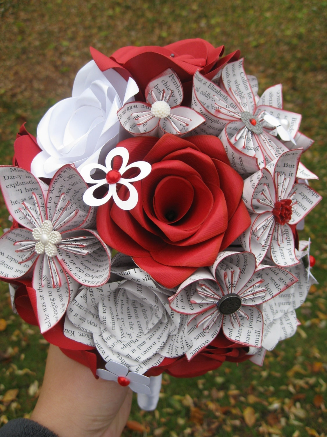 Custom Paper Flower Wedding Bouquets You Pick The Colors