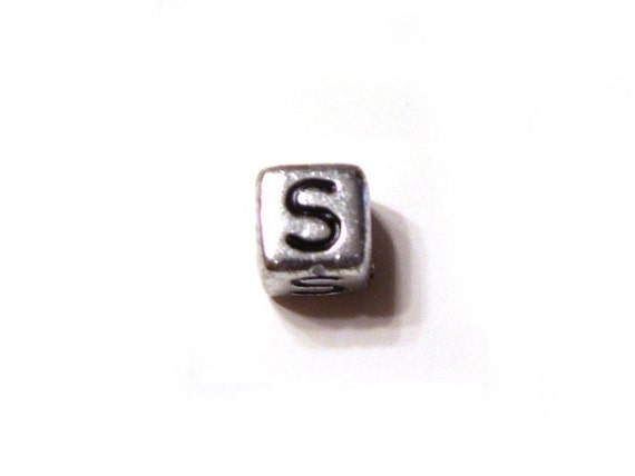 CLEARANCE CLOSEOUT SALE Silver Letter S Alphabet Square Cube Bead 6mm - Set of 5