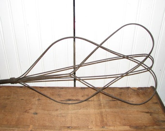 antique rug beater wire and wood primitive