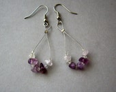 Purple amethyst earrings, purple hoop earrings, amethyst dangle earrings, ombre earrings, small dangle earrings, lilac hoop earrings