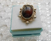 Antique Adjustable Natural Gemstone Ring in Edwardian Silver Setting