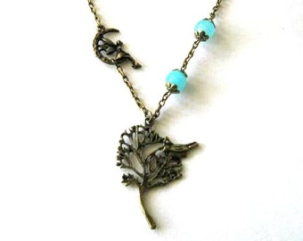 Moon fairy necklace blue jewelry tree necklace blue stone beads - Necklace with tree pendant antique brass bronze