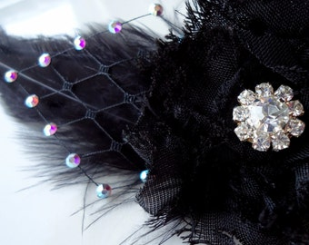 Black feathers fascinator. AB Swarovski crystals feathers hair clip. Wedding , Flower Girl.Bridesmaids..-Karol-