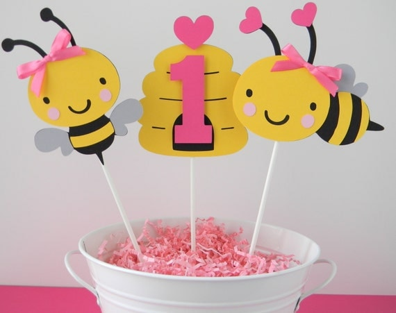 Bumble Bee Birthday Party Personalized Centerpiece Sticks In