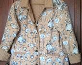 SALE Quilted Jacket rustic distressed boho jacket blanket coat reversible jacket floral tan cotton spring fall women medium sale vintage 90s