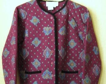 Quilted Jacket Boho Print Jacket oversized cropped collarless jacket mori girl burgundy wine lightweight jacket Vittadini women