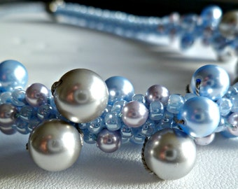Beaded Kumihimo Swarovski pearl necklace - lt powder blue & silver