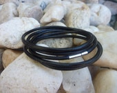 Black Five wrap  Leather Bracelet/ Wirstband/ Cuff /Surf /Unosex