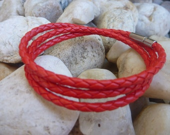 Leather Bracelet . Red Wrap Leather Bracelet/Necklace.Stainless Steel.Unisex.