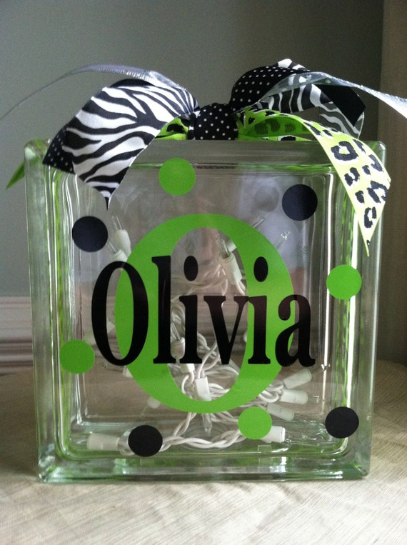 Items similar to personalized monogram glass block light for Custom acrylic blocks