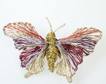Butterfly brooch Purple gold Butterfly jewelry Insect jewelry Wire sculpture art brooch pjn Unusual jewelry Luxury jewelry Unique gift