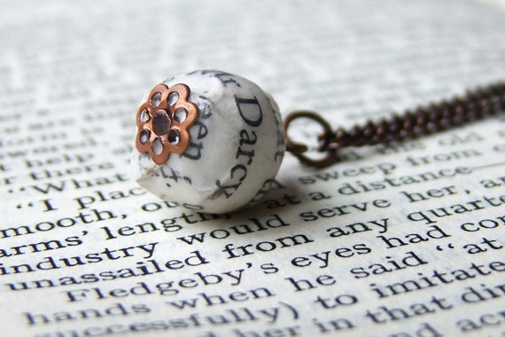 Mr Darcy Pride and Prejudice book page bead necklace, copper plated chain