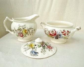 Johnson Brothers Sheraton Creamer and Sugar Bowl, Gorgeous Floral Pattern English China,