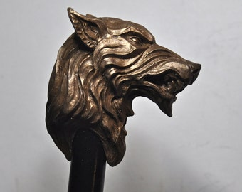 Direwolf Cane, bonded bronze