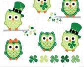 Owl Clip Art - Leona St Patricks -- INSTANT DOWNLOAD